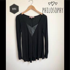 💜Long Sleeve Black Philosophy V-Neck Tee💜